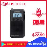 Retekess TR103 Portable Pocket Mini Radio FM / MW / Shortwave Radio Digital Tuning 9/10Khz MP3 Music Player Rechargeable Battery