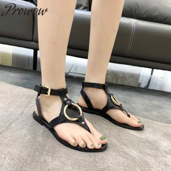 Prowow New Spring Summer Vacation Party Branded Sandals Beach Party Flats Shoes Women Zapatos Mujer