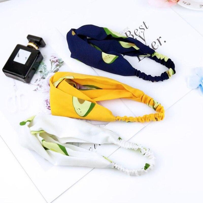 Fashion Hairbands Print Avocado Quality Headbands For Women Girls  Cross Knot Turban Bandanas Ladies Headwear Hair Accessories