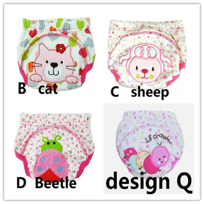 4pc/lot Mix Design Baby Girls Diapers Children Reusable Underwear Baby Diaper Girls Training Pants 13-16kg