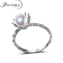Exquisite Real Natural Pearl Ring Woman,white Freshwater Round Pearl Ring 925 Silver Anniversary Gift