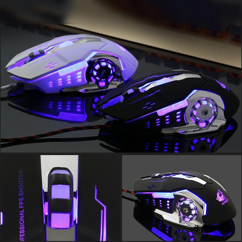 Kuulee Professional USB Wired Gaming Computer Mouse 4000 DPI Optical LED Lighting Mouse Gamer For Computer PC Laptop