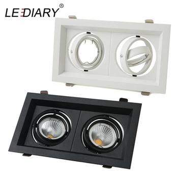 LEDIARY światło kratki podwójne trzy oprawy oświetleniowe LED typu Downlight MR16 montaż 12-260V wpuszczane żarówki GU10 wymienne oprawy oświetleniowe tanie i dobre opinie CN (pochodzenie) Pokrętło przełącznika 90-260 v Foyer 3 Years Aluminium Żarówki Light Source Replaceable Downlight
