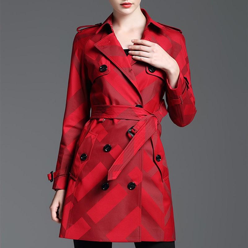 Купить женский тренч весна осень пальто средней длины клетчатая двубортная