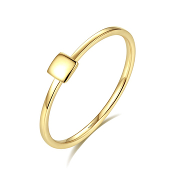 SANYU Simple Square Round Real Solid 14K Gold Rings for Women Carving Au585 Wedding Engagement bague Yellow Gold Fine Jewelry