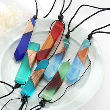 Vintage Handmade Men Woman Fashionable Wood Resin Necklace Pendant Woven Rope Chain Jewelry Mujer Gifts(China)