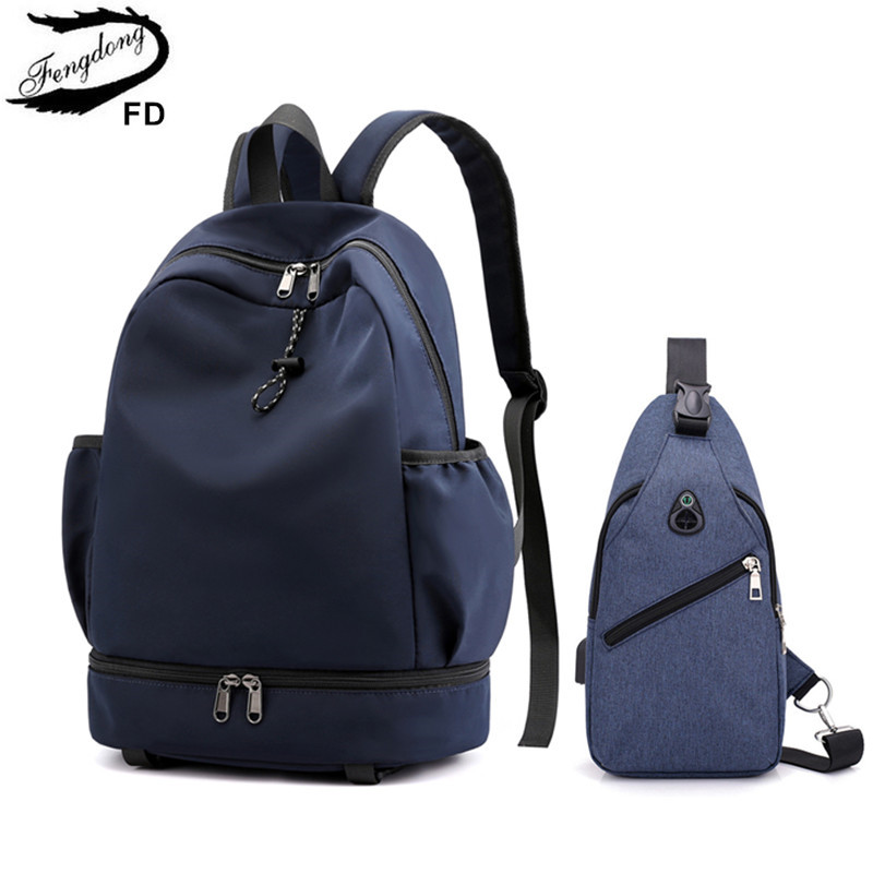 FengDong 2pcs/set College School Backpack For Boy Sling Chest Bag Set Boys School Bags Student Waterproof Backpack Schoolbag