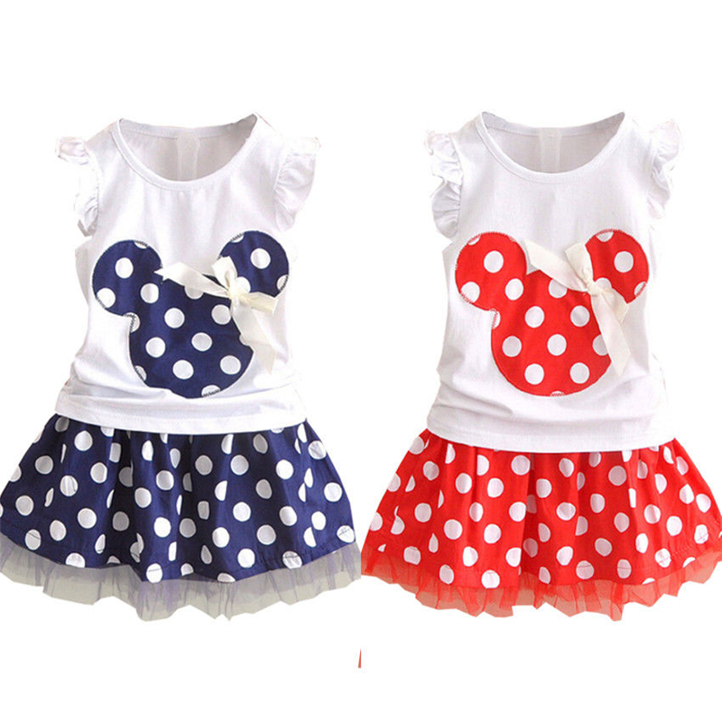 Baby Girls Clothes Set Minnie Mouse Kids Top T Shirt Polka Dot Tutu Skirt Toddler Party Sleeveless Summer Princess Outfits 0-4t