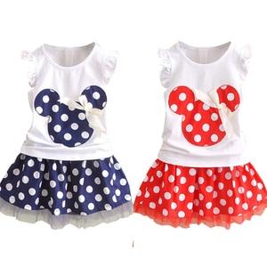 Baby Girls Summer Clothes Set Kids Polka Dot Sleeveless Top T shirt + Tutu Skirt 2PCS Toddler Party Princess Outfits 0-4t(China)