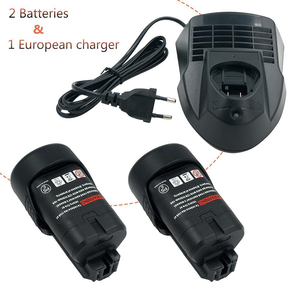 Battery + Charger) 10.8V MAX12V 2.0Ah Li-ion Rechargeable Tool Battery For Bosch  BAT411 BAT412 BAT413 BAT414 + AL1115CV Charger