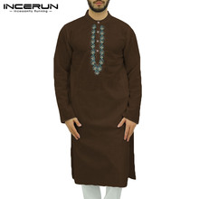 Vintage Men Muslim Kaftan Printed Cotton Long Sleeve Robes Abaya Dubai Middle East Islamic Arabic Jubba Thobe INCERUN