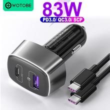 "WOTOBE 2 יציאת 83W סופר מהיר מטען לרכב, 1 יציאת USB C פ""ד 60W 20V כוח מתאם, 1 5A QC3.0/AFC/SCP 22.5W עבור טלפונים ומחשבים ניידים"