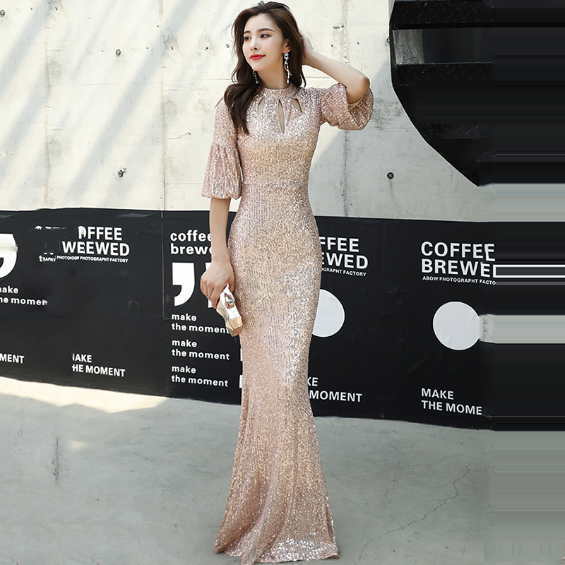 Evening Dress Champagne Gold Shining Sequined O Neck Ruffles For Women Evening Dresses Mermaid Long Half Sleeve Formal Gown K076