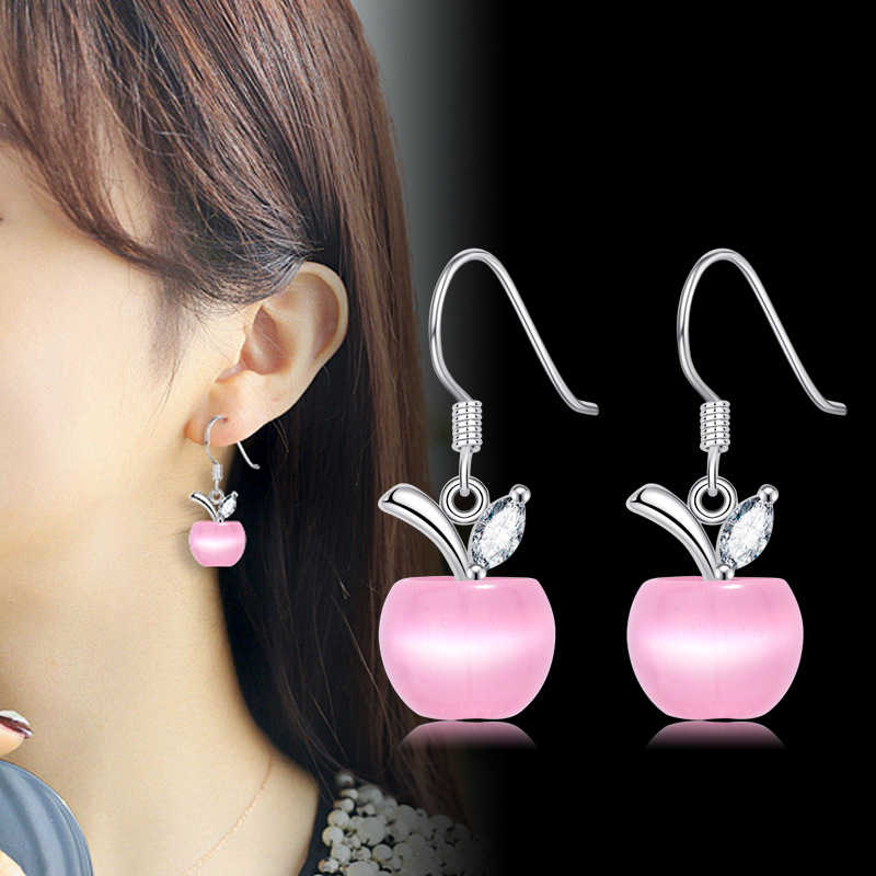 Charmhouse Pure 925 Silver Earrings For Women Opal Fruit Dangle Earing With Stone Korea High Quality Jewelry Brincos Pendientes