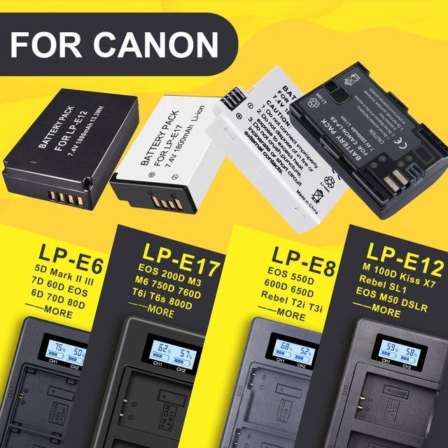 LP E6 LPE6 LP E6 LP E8 LPE8 LP E8 LP E12 LPE12 LP E12 LP E17 LPE17 LP E17 pantalla Digital LED cargador dual para cámara Canon