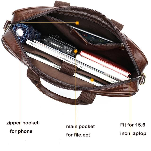 Westal masculino saco de couro maleta sacos de escritório para homens saco de couro genuíno do homem sacos de portátil masculino bolsa 2