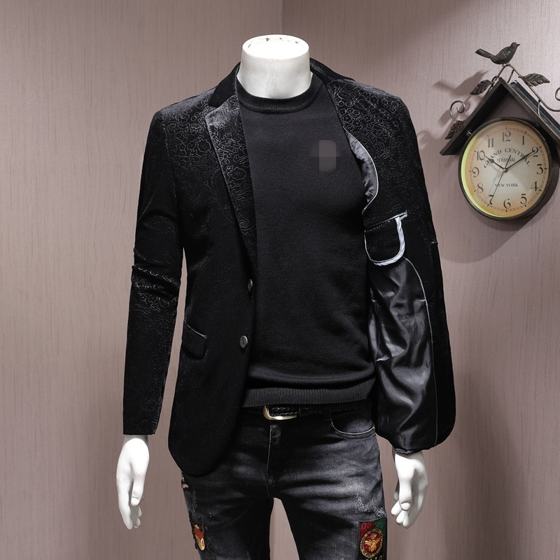 Brand Men Blazer Luxury Wedding Business Casual Single Breasted Suit Jacket Oversize 5XL Autumn Black Slim Velour Outwear