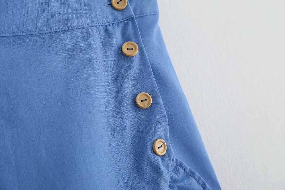 女性の事務服フリルブルーミディスカートボタンフライ女性のカジュアルな夏スタイリッシュなソリッドシックなミッドカーフスカート