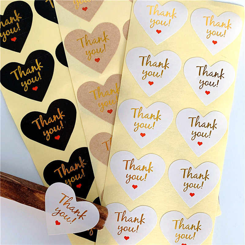 100 Pcs/lot Thank you Red Heart design Hot Stamping Kraft Paper Labels  Stickers Gift Packaging Seal Seals Sticker