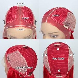 Image 5 - Pelucas de encaje BOB de colores prearrancadas, encaje frontal de BOB azul, peluca roja, pelo Remy brasileño, 13x1 T, peluca de malla con división, pelucas de 180% BOB