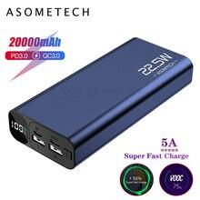 תצוגה דיגיטלית 20000mAh 5A סופר מהיר תשלום QC3.0 כוח בנק פלאש PD3.0 מטען Powerbank חיצוני סוללה עבור iPhone אנדרואיד