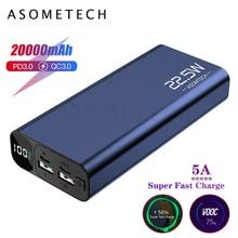 Dijital ekran 20000mAh 5A süper hızlı şarj QC3.0 güç bankası flaş PD3.0 şarj cihazı Powerbank harici pil iPhone Android için