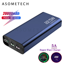 Pantalla Digital, 20000mAh, 5A, carga superrápida, QC3.0, Banco de energía Flash PD3.0, cargador de batería externa para iPhone y Android