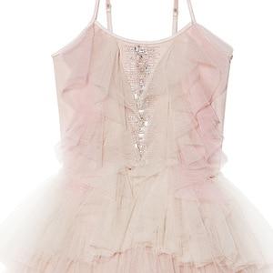 Image 2 - فستان بناتي مطرز بالدانتيل ومكشكش للكريسماس مصنوع يدويًا للأطفال فساتين منتفخة بالترتر لحفلات الأميرات ملابس للفتيات CA968