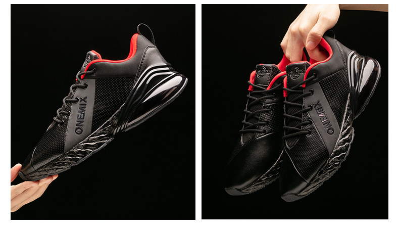 Купить с кэшбэком ONEMIX Winter Sneakers For Men Running Shoes Outdoor Jogging Shoes Shock Absorption Woman Air Cushion Soft Leather Sport Shoes