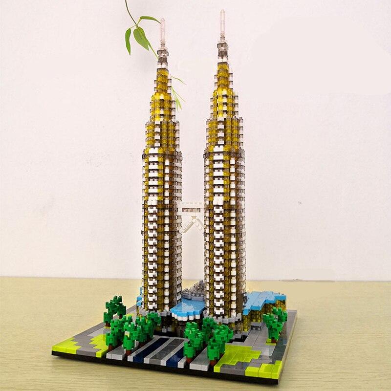 Image 5 - YZ 057 World Famous Architecture Kuala Lampur Petronas Tower 3D Model DIY Mini Diamond Blocks Building Toy for Children no BoxBlocks   -