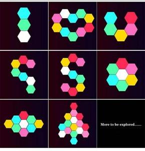 Image 4 - 여러 가지 빛깔의 기하학 Led 육각 패널 양자 램프 터치 민감한 조명 모듈 형 및 이동식 DIY 크리 에이 티브 장식