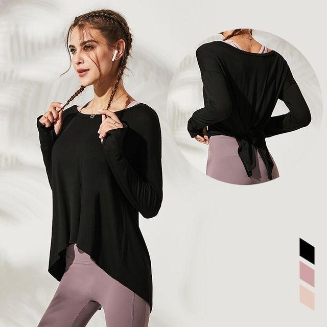 Autumn Women Gym Yoga Crop Tops Yoga Shirts Long Sleeve Workout Tops Fitness Running Sport T-Shirts Training Sportswear S-L 1