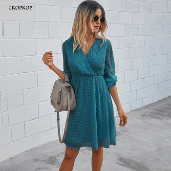 Women Dress Autumn Spring Solid Black Casual Ladies Long Sleeve A Line Dresses Fall Ruched Slim Waist Clothes 2020 Fashion Green 1