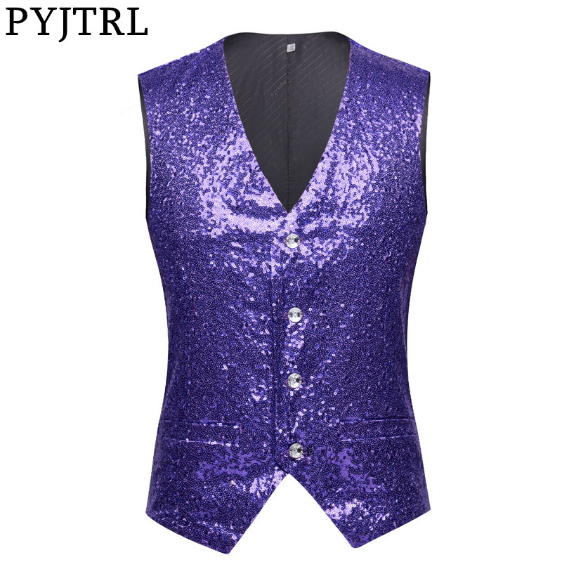 PYJTRL Men Paillette Waistcoat Luxurious Purple Lavender Pink Full Sequins Wedding Groom Vest Gilet Homme DJ Bar Singers Costume