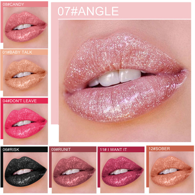 QIBEST 쉬머 리퀴드 립스틱 글리터 립 글로스 12 색 화장품 메이크업 립 티트 글리터 모이스춰 라이징 방수 립글로스