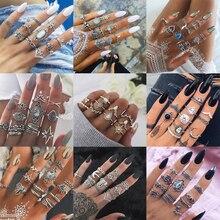 20 видов стилей, богемное кольцо на кончик пальца средней длины, набор для женщин, кристалл, слон, корона, полумесяц, геометрические кольца на палец, винтажные ювелирные изделия