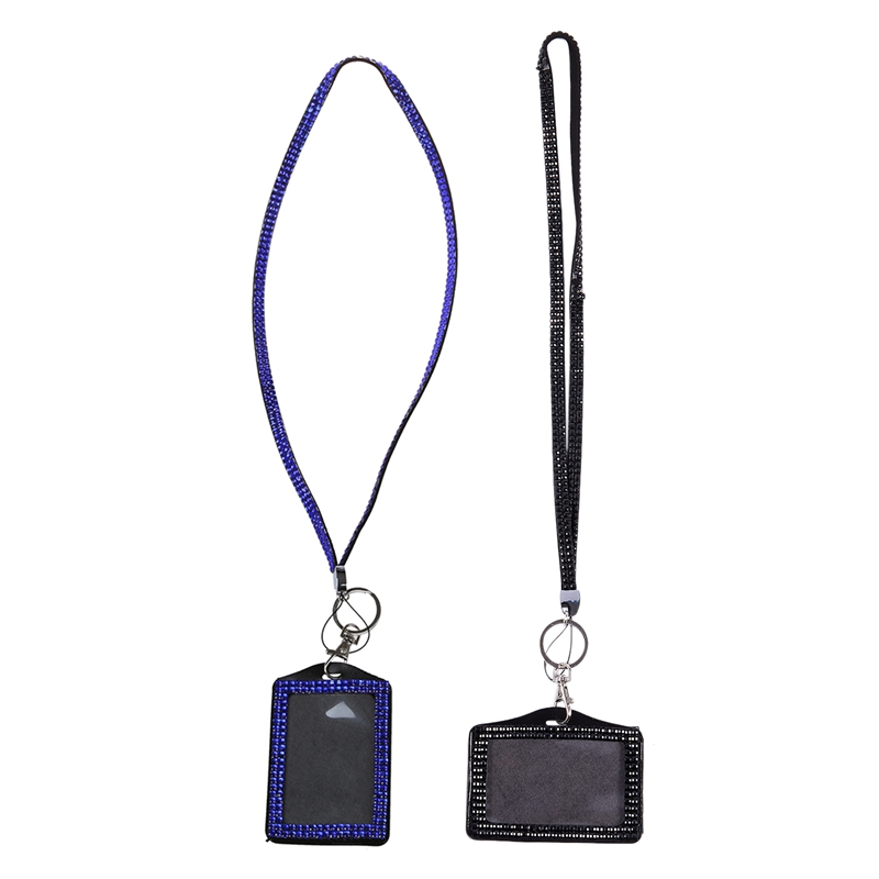 2 Pcs Rhinestone Bling Crystal Custom Lanyard Vertical ID Badge Holder, Black & Dark Blue