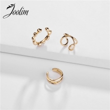 Joolim Jewelry Wholesale 3pcs/Set High End Gold Color Cooper Clip On Earring