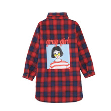2019 Spring Fashion Girls Plaid Shirts Red/Blue School Girl Blouse Long Section Shirts for Girls Long Sleeve Blouse Designs girls plaid blouse 2019 spring autumn turn down collar teenager shirts cotton shirts casual clothes child kids long sleeve 4 13t