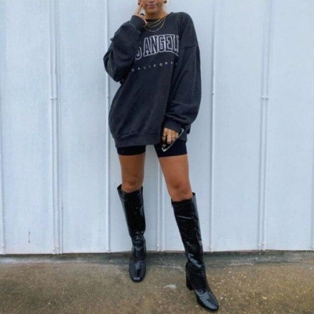 Navy Blue Vintage Letter Printing Sweatshirt Women Long Sleeve O Neck Oversized Hoodies Sports Girls Streetwear Autumn Plus Size 3