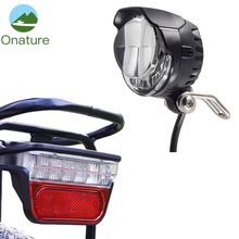 Onature e bike light set headlight with 2 mount way and LED ebike rear lamp DC 12V 36V 48V 60V electric bicycle accessories