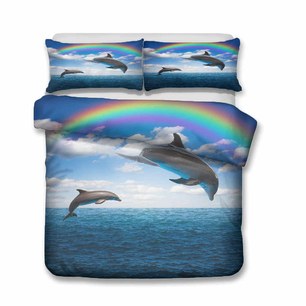 Quilts und Bettwäsche Sets Dolphins unter die Regenbogen Gedruckt Home Textilien mit Kissenbezug Bettbezug Schlafzimmer Kleidung Königin Größe
