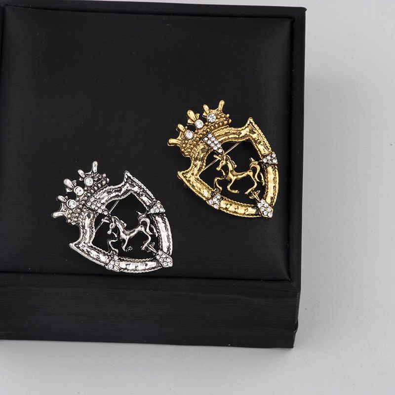 Baru Vintage Berlian Imitasi Kecil Crown Berjingkrak Bros untuk Pria Setelan Korsase Kuda Kerah Pin Lencana Pakaian & Aksesoris