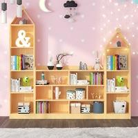 Creative children's bookshelf floor bookcase racks solid wood kindergarten book picture book holder student simple storage rack