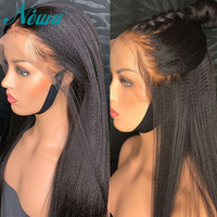 Newa Hair Yaki Straight Full lace Human Hair Wigs With Baby Hair Brazilian Remy Hair Italian Yaki Full Lace Wigs 150%Pre Plucked