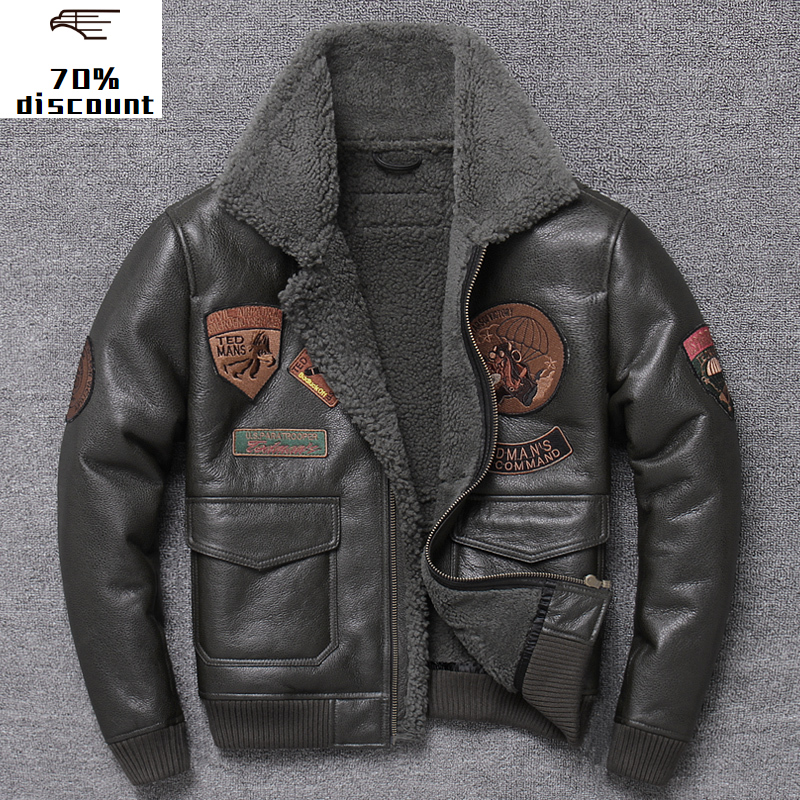 2020 New Genuine Men's leather jacket Men blouson moto Real top gun jackets cow leather jacket