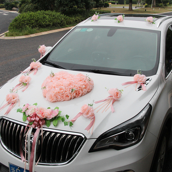 Wedding car decoration set float car decoration team flower headdress wedding car flower decoration bridal party accessories