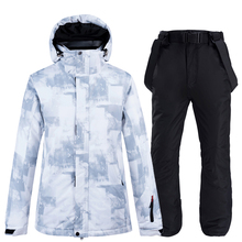 10k Impermeabile Tute Da Sci di Inverno di Modo Set Per Le Donne Degli Uomini di Snowboard Vestiti Vestiti Addensare Giacca Da Sci Caldo Pantaloni Più I Pantaloni formato 3XL