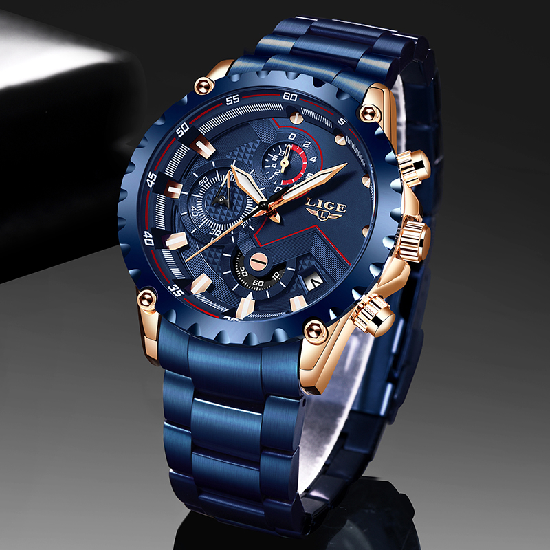 LIGE Mens Watches Date Sport Chronograph Stainless-Steel Blue Waterproof Luxury Top-Brand