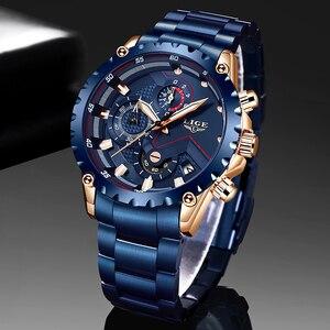 Image 1 - LIGE relojes de acero inoxidable azul para hombre, de cuarzo, resistente al agua, con esfera de fecha, cronógrafo deportivo, 2020